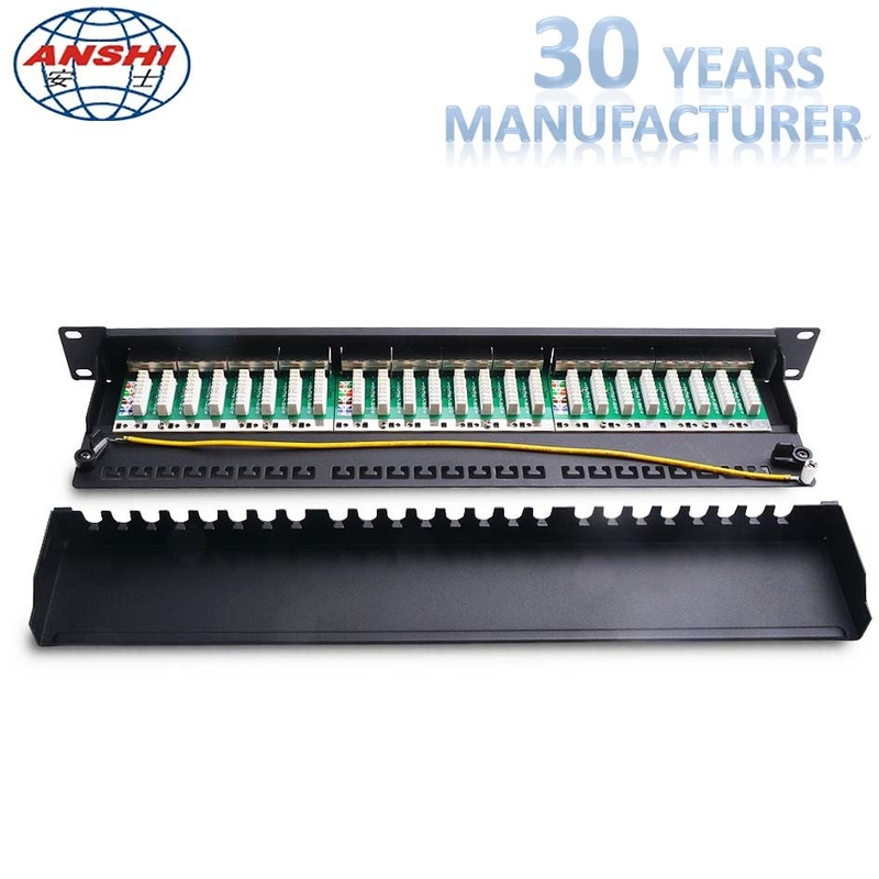 CAT6 STP Shielded Rack Mount Patch Panel 1U 19 Inch 24 Port IDC PCB Type